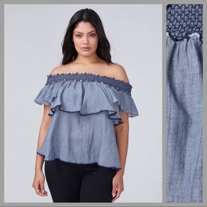 Lane Bryant Off the Shoulder Chambray Ruffle Top